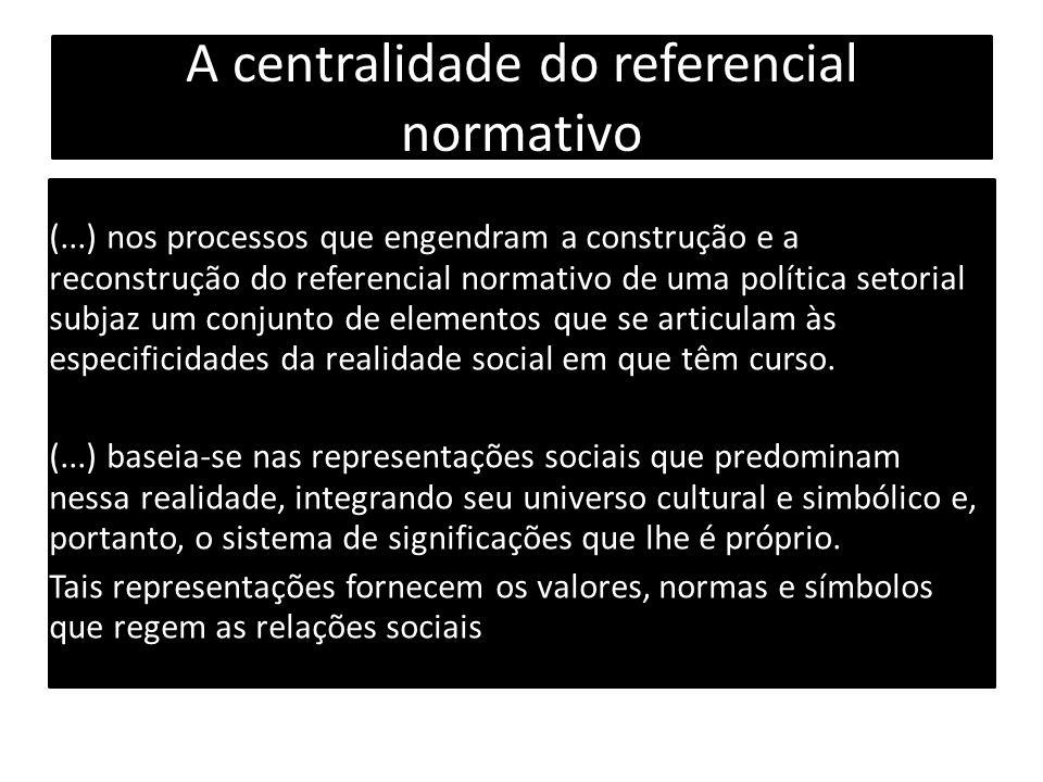 A centralidade do referencial normativo (...) nos processos que engendram a construção e a reconstrução do referencial normativo de uma política setorial subjaz um conjunto de elementos que se articulam às especificidades da realidade social em que têm curso.