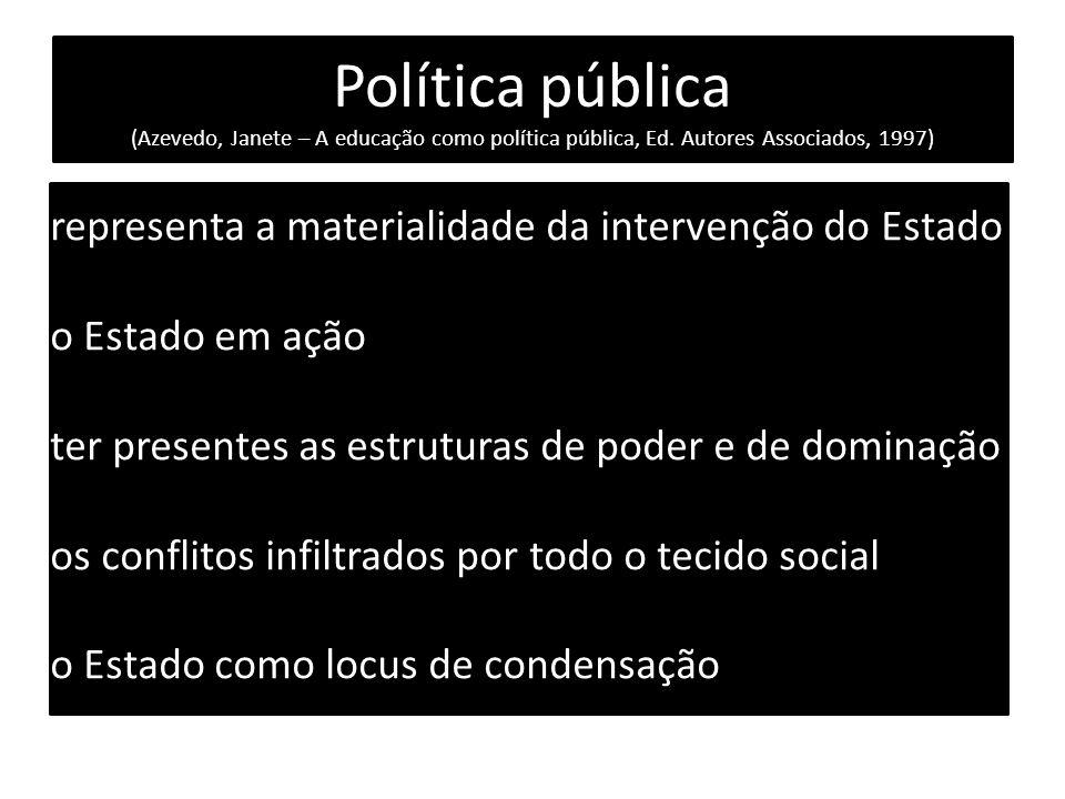 Política pública (Azevedo, Janete – A educação como política pública, Ed. Autores Associados, 1997) representa a materialidade da intervenção do Estad