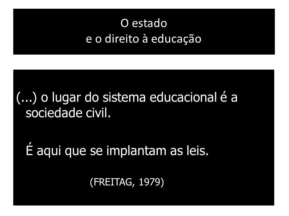 O estado e o direito à educação (...) o lugar do sistema educacional é a sociedade civil. É aqui que se implantam as leis. (FREITAG, 1979)