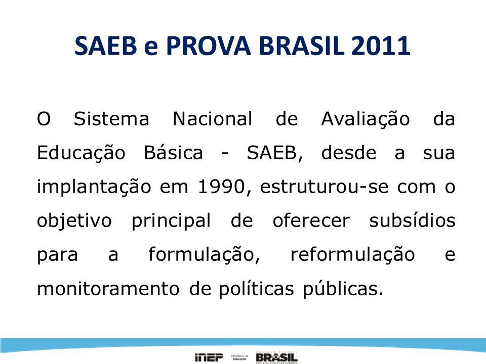 SAEB e PROVA BRASIL 2011 Pela Portaria Ministerial n.° 931, de 21 de março de 2005, o Sistema Nacional de Avaliação da Educação Básica – Saeb foi reinstituído de forma que passou a ser composto por dois processos de avaliação.