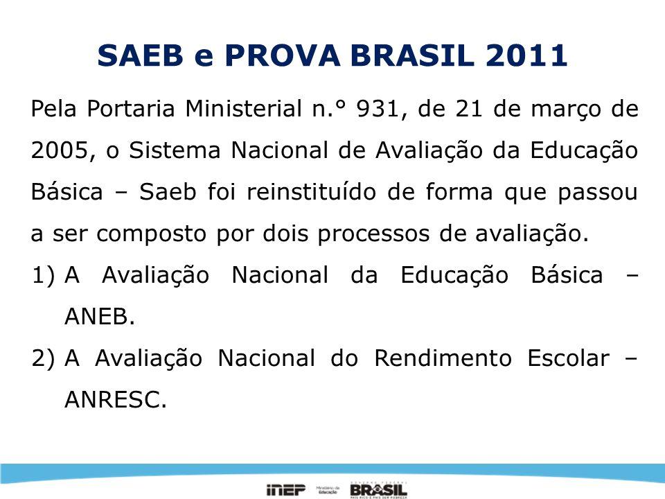 SAEB e PROVA BRASIL 2011 Para aproveitar os nomes já conhecidos, a Avaliação Nacional da Educação Básica – ANEB está sendo chamada de SAEB, e a Avaliação Nacional do Rendimento Escolar – ANRESC de Prova Brasil.