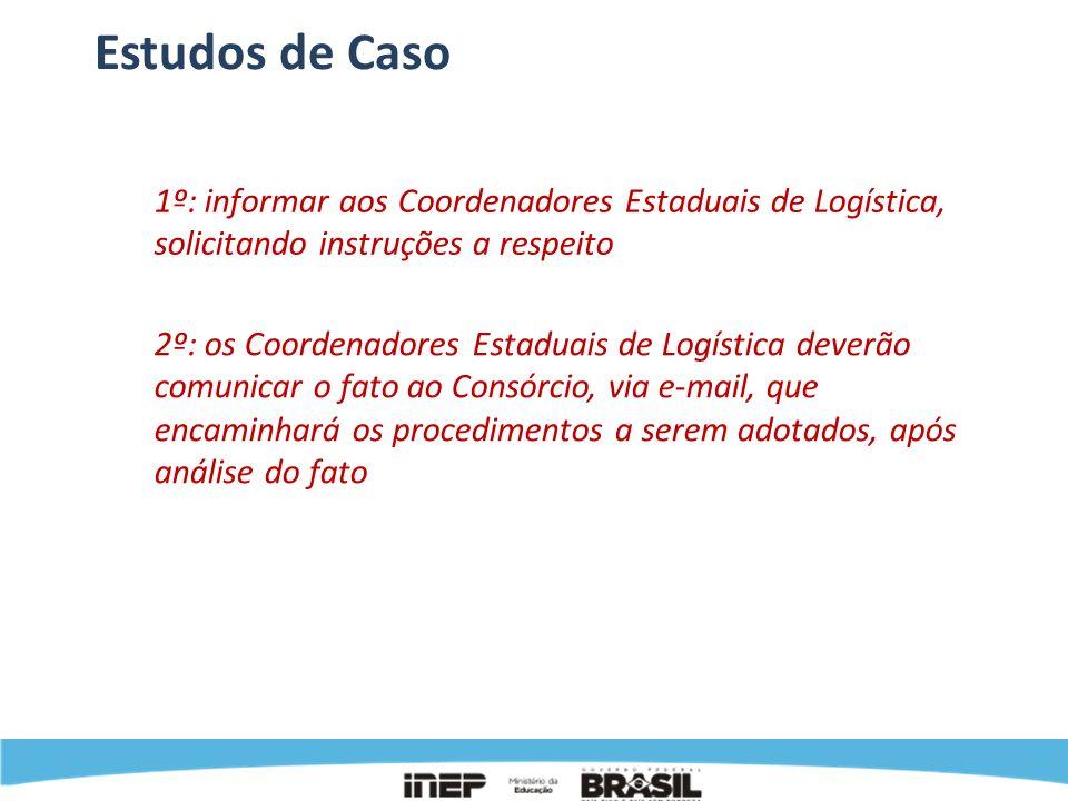 Estudos de Caso 1º: informar aos Coordenadores Estaduais de Logística, solicitando instruções a respeito 2º: os Coordenadores Estaduais de Logística d