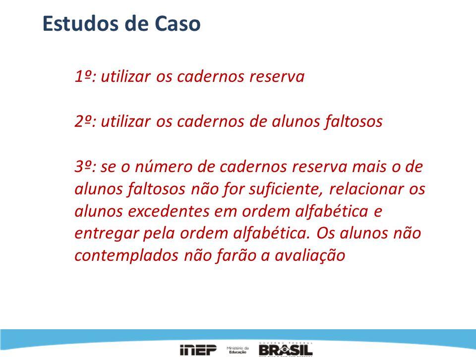 Estudos de Caso 1º: utilizar os cadernos reserva 2º: utilizar os cadernos de alunos faltosos 3º: se o número de cadernos reserva mais o de alunos falt