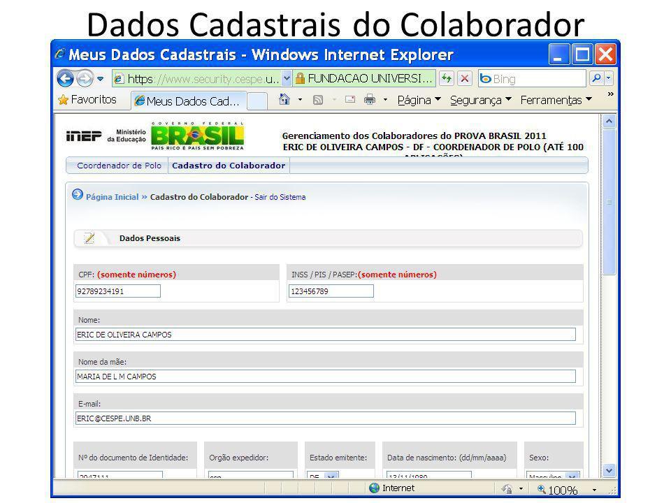 Dados Cadastrais do Colaborador