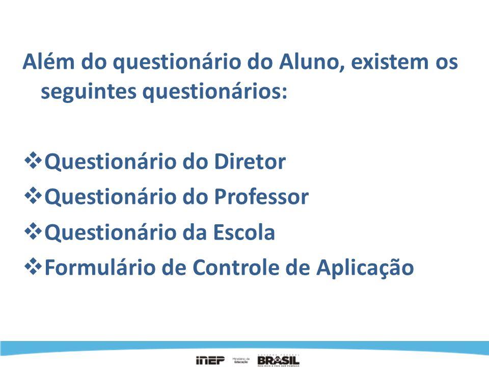 Além do questionário do Aluno, existem os seguintes questionários: Questionário do Diretor Questionário do Professor Questionário da Escola Formulário