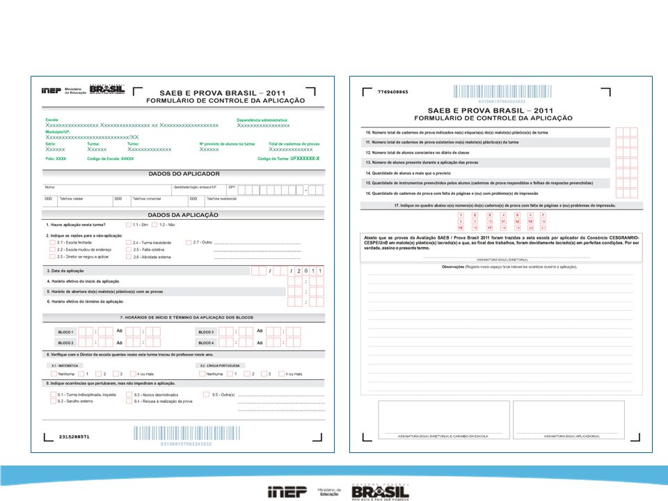 Formulário de Controle da Aplicação