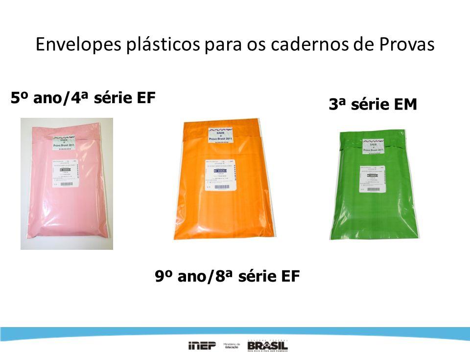 Envelopes plásticos para os cadernos de Provas 5º ano/4ª série EF 9º ano/8ª série EF 3ª série EM