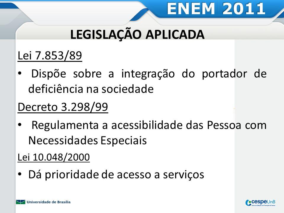 LEGISLAÇÃO APLICADA Lei 7.853/89 Dispõe sobre a integração do portador de deficiência na sociedade Decreto 3.298/99 Regulamenta a acessibilidade das P