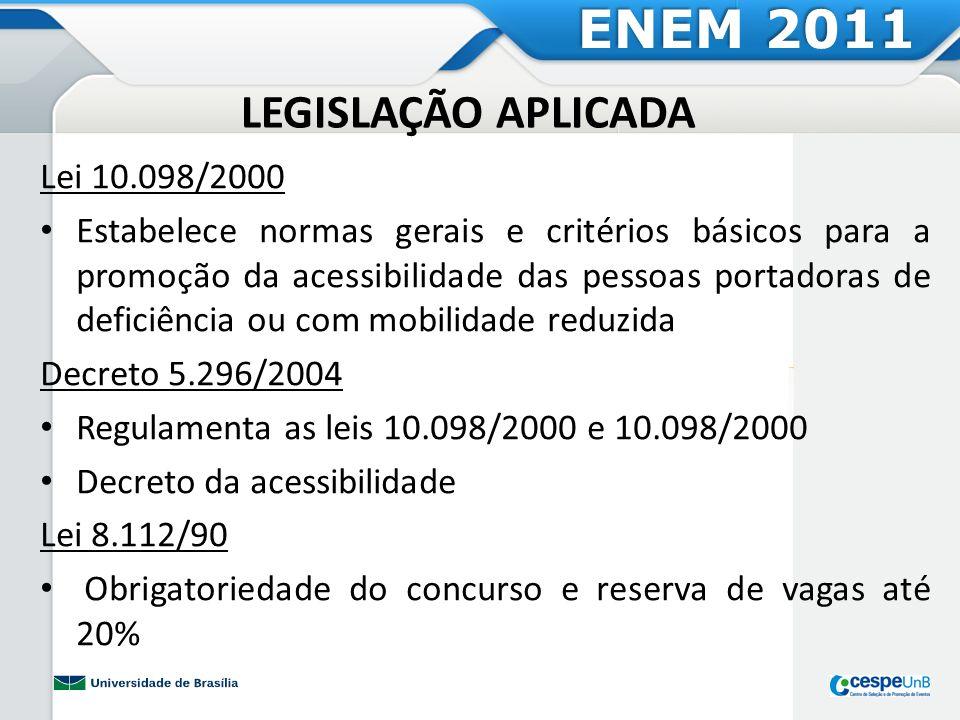 LEGISLAÇÃO APLICADA Lei 10.098/2000 Estabelece normas gerais e critérios básicos para a promoção da acessibilidade das pessoas portadoras de deficiênc