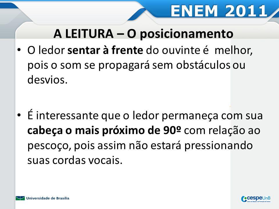 A LEITURA – O posicionamento O ledor sentar à frente do ouvinte é melhor, pois o som se propagará sem obstáculos ou desvios. É interessante que o ledo