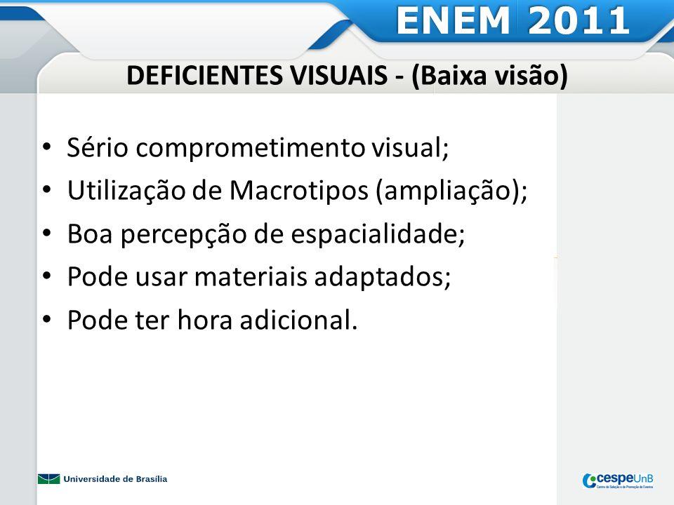 DEFICIENTES VISUAIS - (Baixa visão) Sério comprometimento visual; Utilização de Macrotipos (ampliação); Boa percepção de espacialidade; Pode usar mate