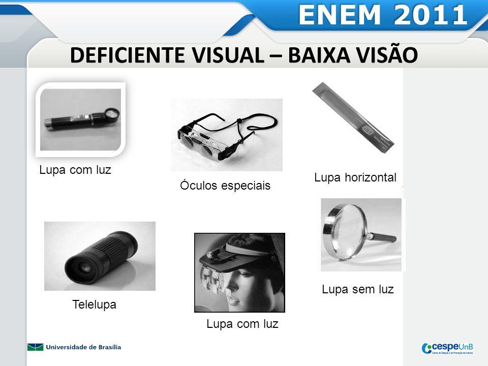 DEFICIENTE VISUAL – BAIXA VISÃO Telelupa Lupa com luz Lupa horizontal Óculos especiais Lupa sem luz Lupa com luz ENEM 2011
