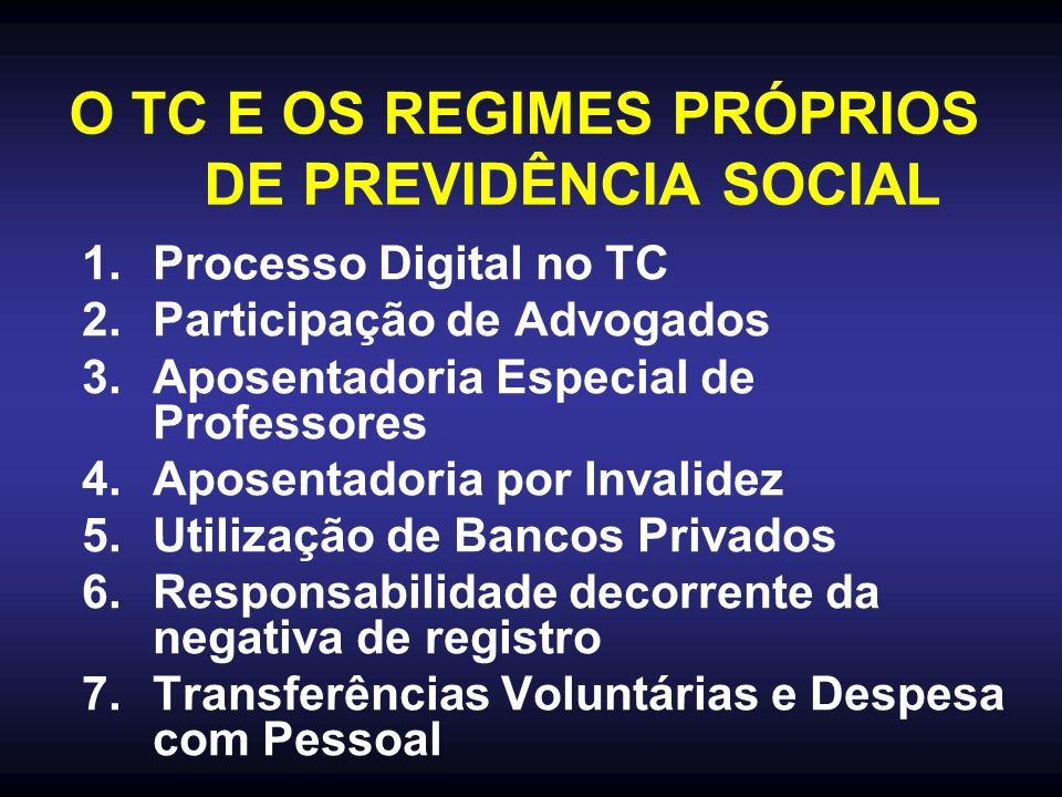 O TC E OS REGIMES PRÓPRIOS DE PREVIDÊNCIA SOCIAL 1.Processo Digital no TC 2.Participação de Advogados 3.Aposentadoria Especial de Professores 4.Aposentadoria por Invalidez 5.Utilização de Bancos Privados 6.Responsabilidade decorrente da negativa de registro 7.Transferências Voluntárias e Despesa com Pessoal