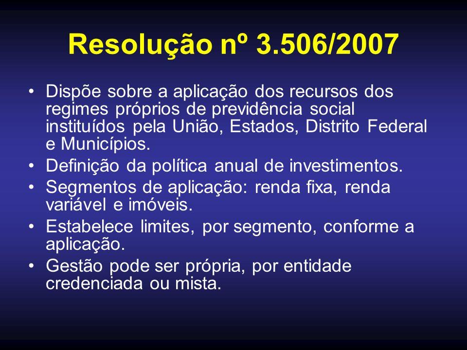 Resolução nº 3.506/2007 Dispõe sobre a aplicação dos recursos dos regimes próprios de previdência social instituídos pela União, Estados, Distrito Federal e Municípios.