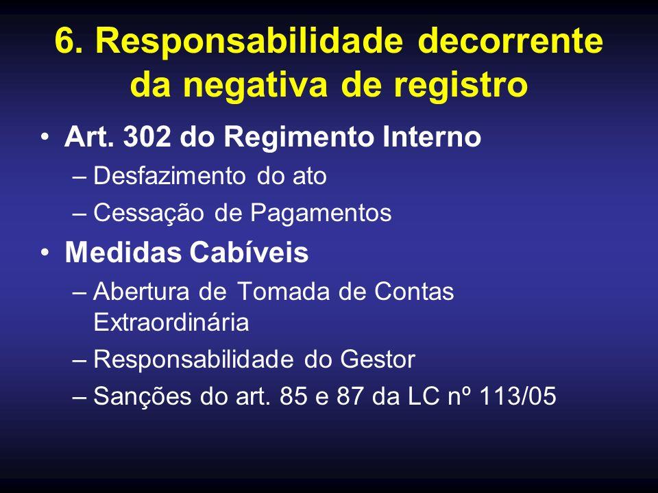 6. Responsabilidade decorrente da negativa de registro Art. 302 do Regimento Interno –Desfazimento do ato –Cessação de Pagamentos Medidas Cabíveis –Ab