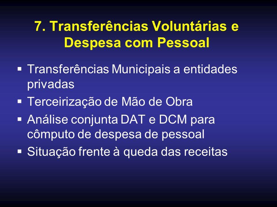 7. Transferências Voluntárias e Despesa com Pessoal Transferências Municipais a entidades privadas Terceirização de Mão de Obra Análise conjunta DAT e