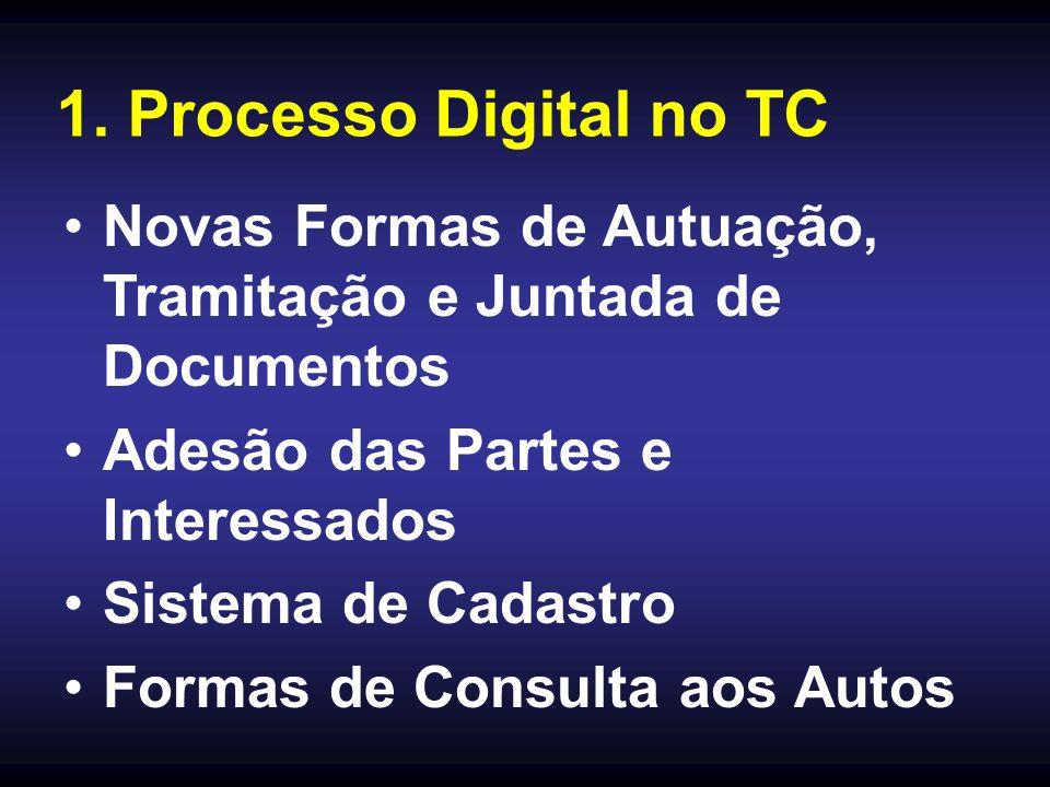 1. Processo Digital no TC Novas Formas de Autuação, Tramitação e Juntada de Documentos Adesão das Partes e Interessados Sistema de Cadastro Formas de
