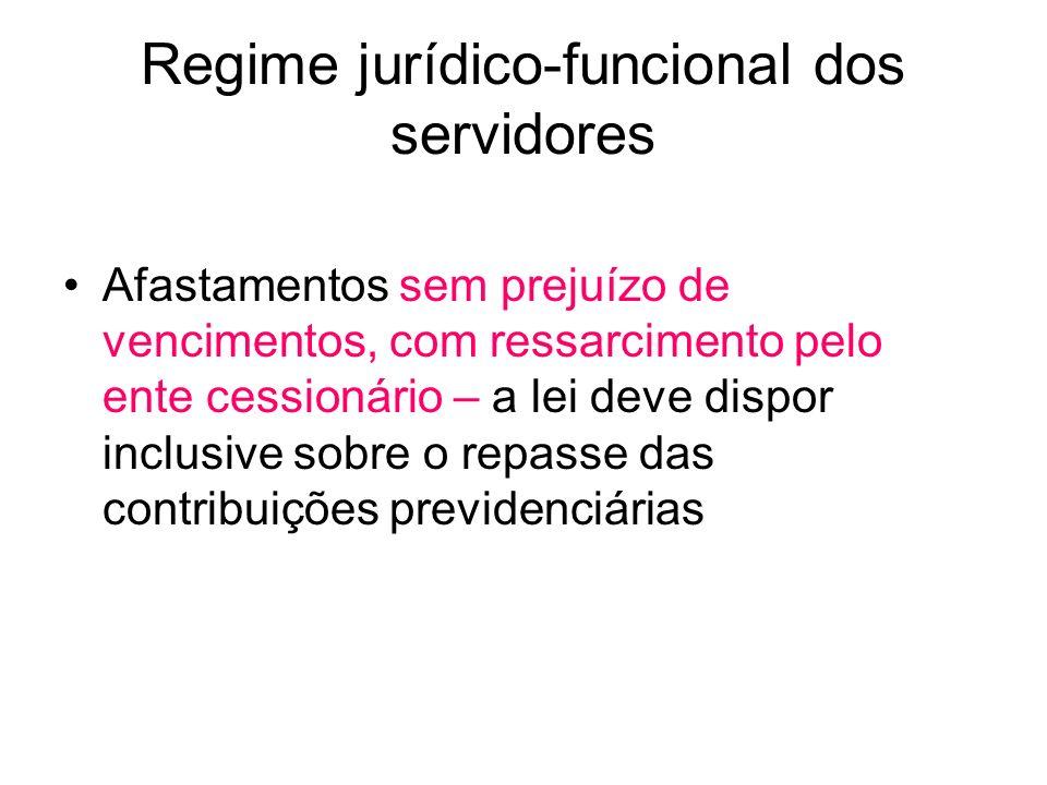 Regime jurídico-funcional dos servidores Afastamentos sem prejuízo de vencimentos, com ressarcimento pelo ente cessionário – a lei deve dispor inclusive sobre o repasse das contribuições previdenciárias