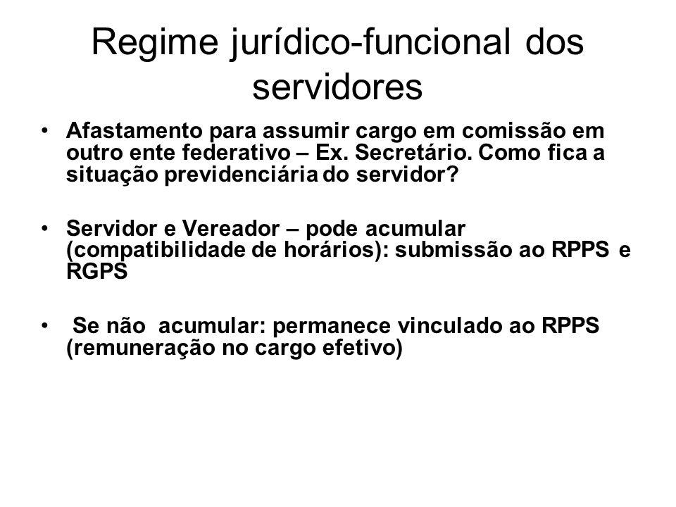 Regime jurídico-funcional dos servidores Afastamento para assumir cargo em comissão em outro ente federativo – Ex.