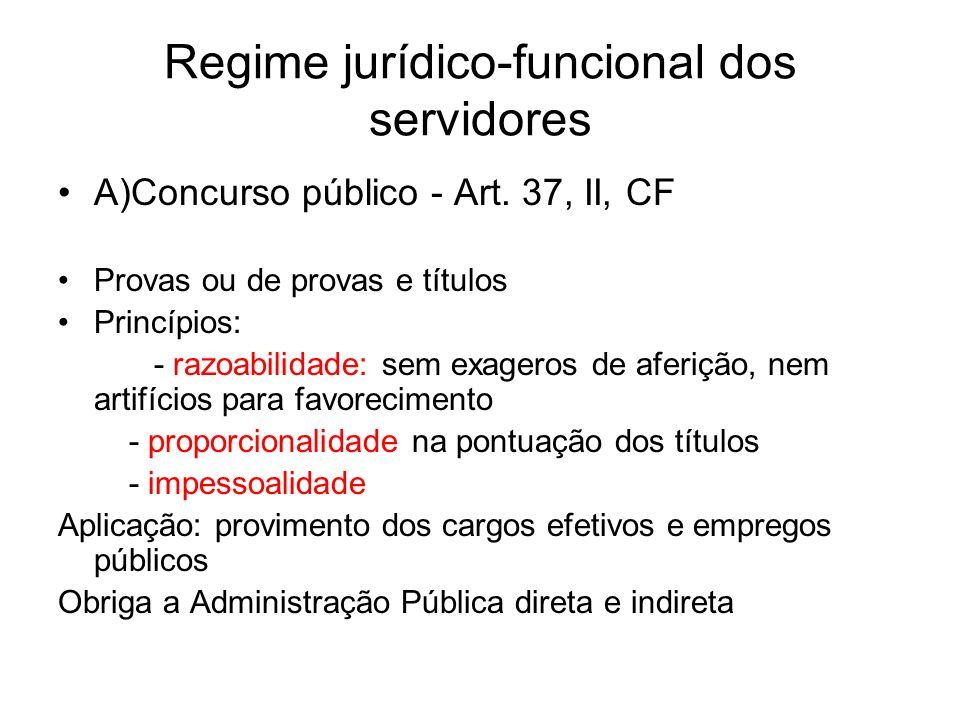 Regime jurídico-funcional dos servidores A)Concurso público - Art.