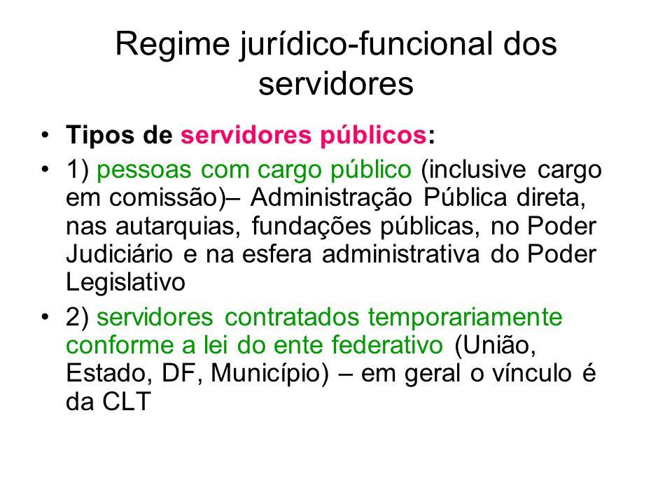 Regime jurídico-funcional dos servidores ART.