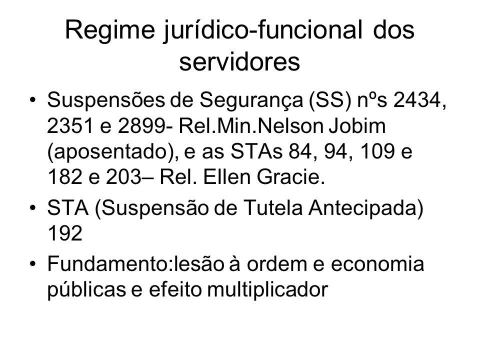 Regime jurídico-funcional dos servidores Suspensões de Segurança (SS) nºs 2434, 2351 e 2899- Rel.Min.Nelson Jobim (aposentado), e as STAs 84, 94, 109 e 182 e 203– Rel.