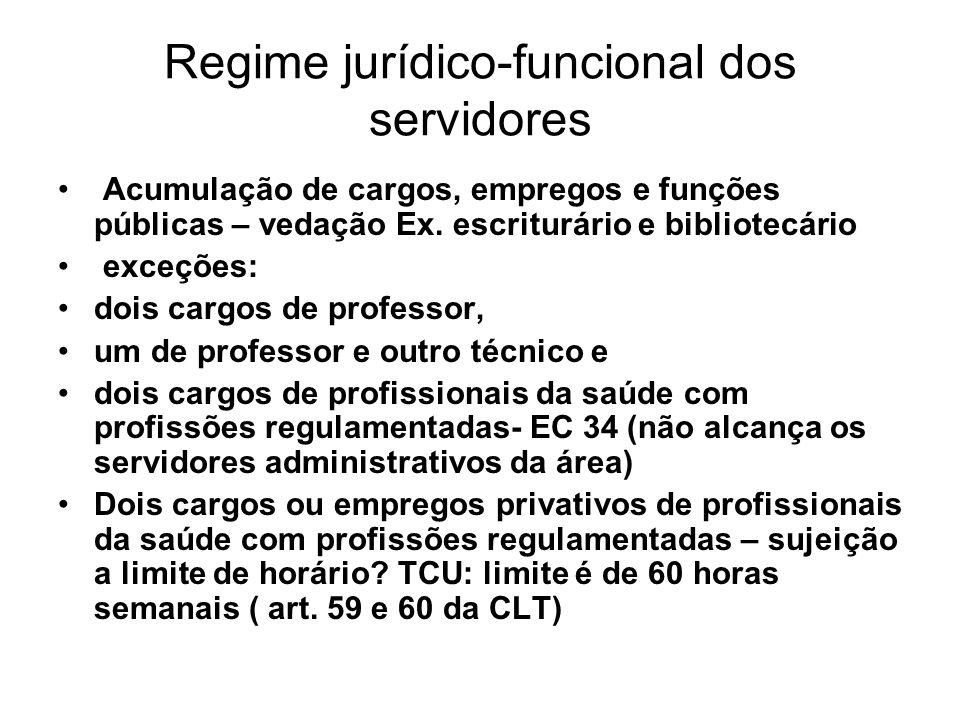 Regime jurídico-funcional dos servidores Acumulação de cargos, empregos e funções públicas – vedação Ex.