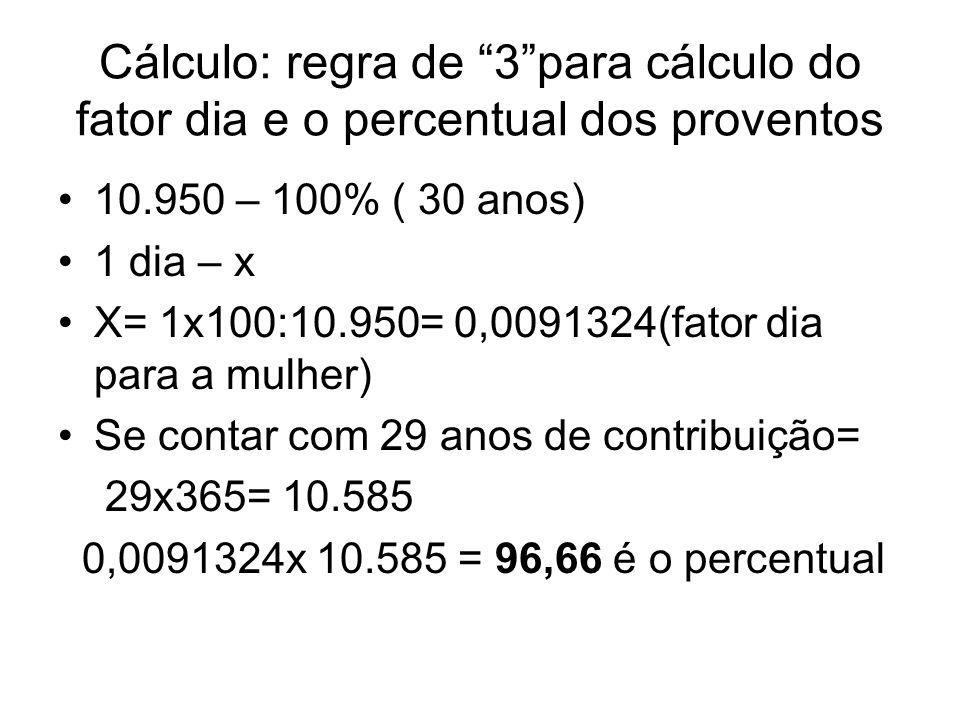 Cálculo: regra de 3para cálculo do fator dia e o percentual dos proventos 10.950 – 100% ( 30 anos) 1 dia – x X= 1x100:10.950= 0,0091324(fator dia para
