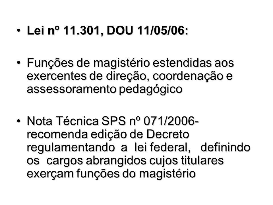 Lei nº 11.301, DOU 11/05/06:Lei nº 11.301, DOU 11/05/06: Funções de magistério estendidas aos exercentes de direção, coordenação e assessoramento peda