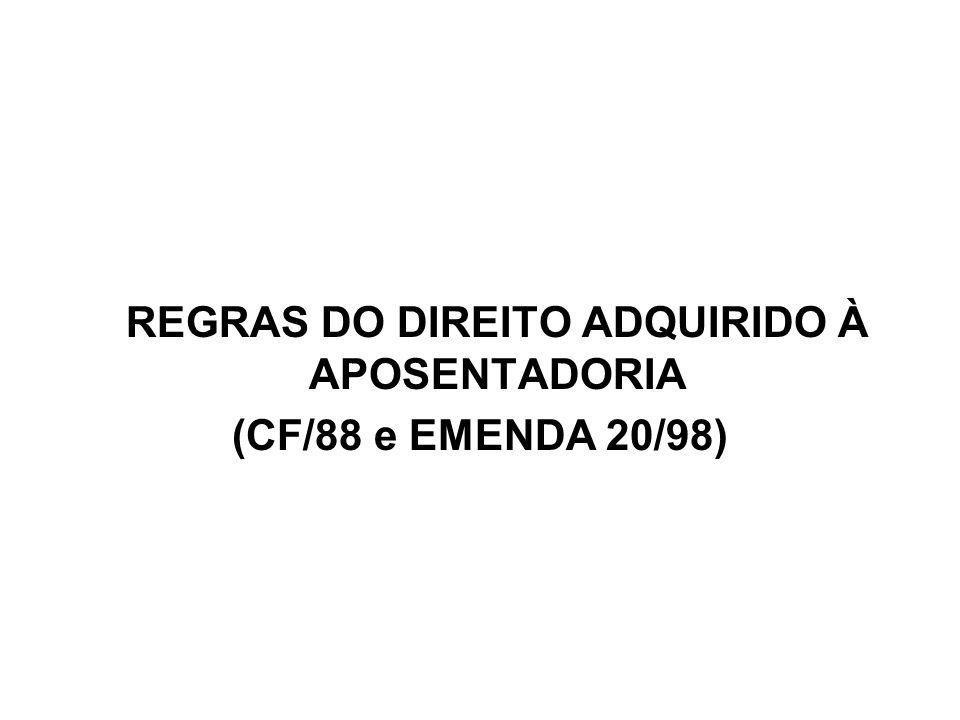 REGRAS DO DIREITO ADQUIRIDO À APOSENTADORIA (CF/88 e EMENDA 20/98)