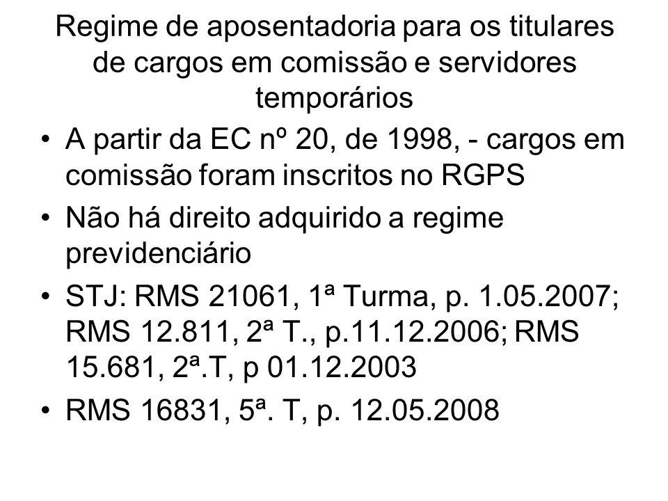 Regime de aposentadoria para os titulares de cargos em comissão e servidores temporários A partir da EC nº 20, de 1998, - cargos em comissão foram ins
