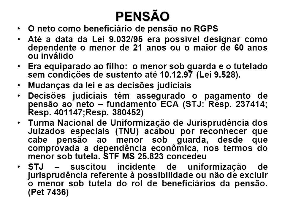 PENSÃO O neto como beneficiário de pensão no RGPS Até a data da Lei 9.032/95 era possível designar como dependente o menor de 21 anos ou o maior de 60