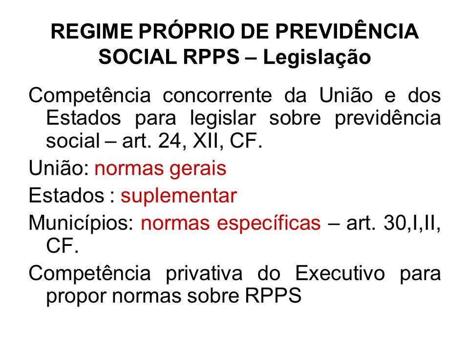 Regime próprio de previdência social RPPS - Legislação Normas gerais – Leis federais nº 9.717/98 e 10.887/04.