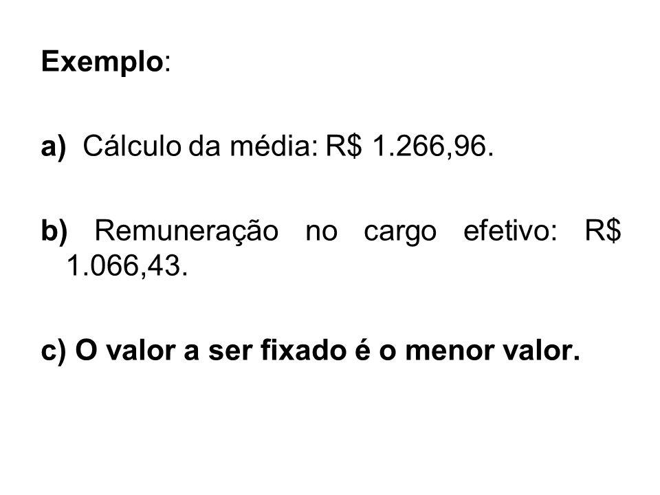 Exemplo: a) Cálculo da média: R$ 1.266,96. b) Remuneração no cargo efetivo: R$ 1.066,43. c) O valor a ser fixado é o menor valor.