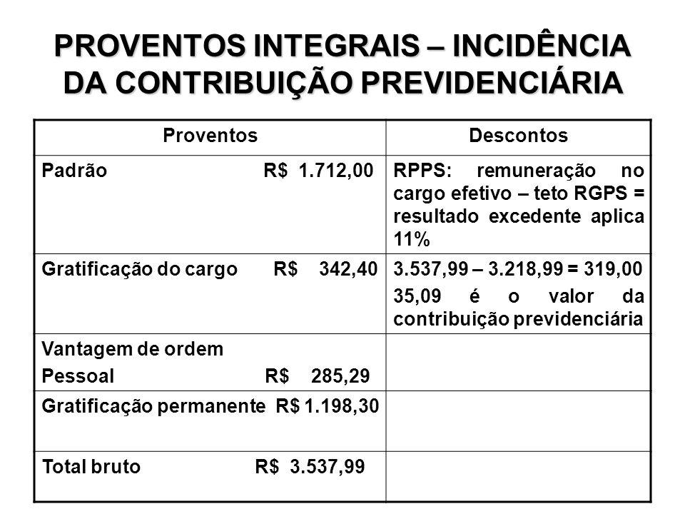 PROVENTOS INTEGRAIS – INCIDÊNCIA DA CONTRIBUIÇÃO PREVIDENCIÁRIA ProventosDescontos Padrão R$ 1.712,00RPPS: remuneração no cargo efetivo – teto RGPS =