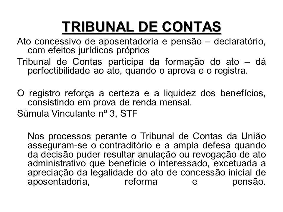 TRIBUNAL DE CONTAS Ato concessivo de aposentadoria e pensão – declaratório, com efeitos jurídicos próprios Tribunal de Contas participa da formação do