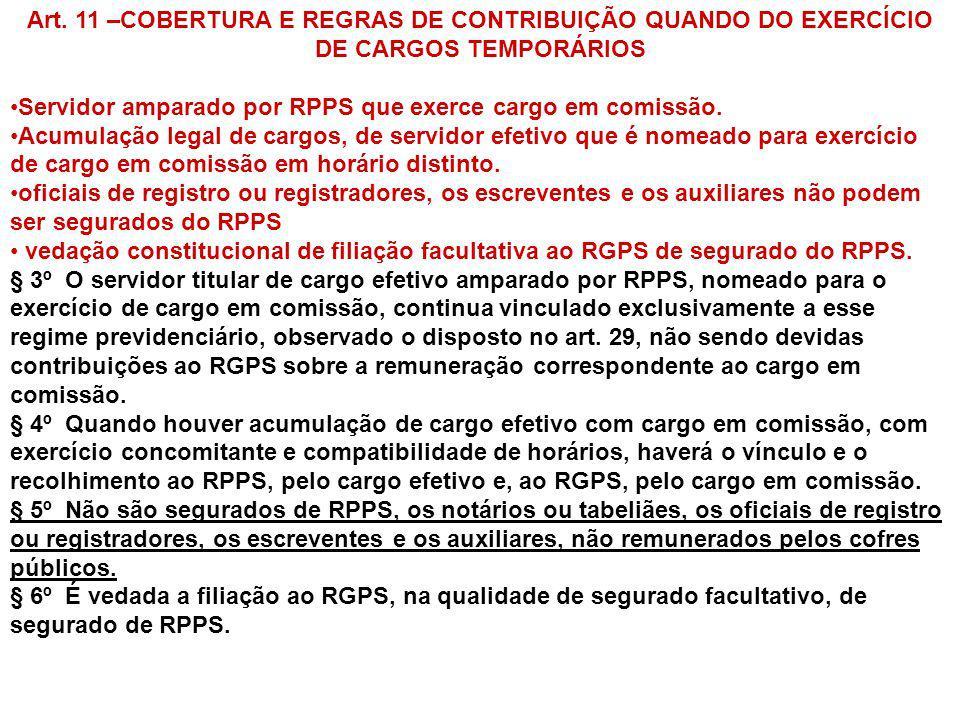 Art. 11 –COBERTURA E REGRAS DE CONTRIBUIÇÃO QUANDO DO EXERCÍCIO DE CARGOS TEMPORÁRIOS Servidor amparado por RPPS que exerce cargo em comissão. Acumula
