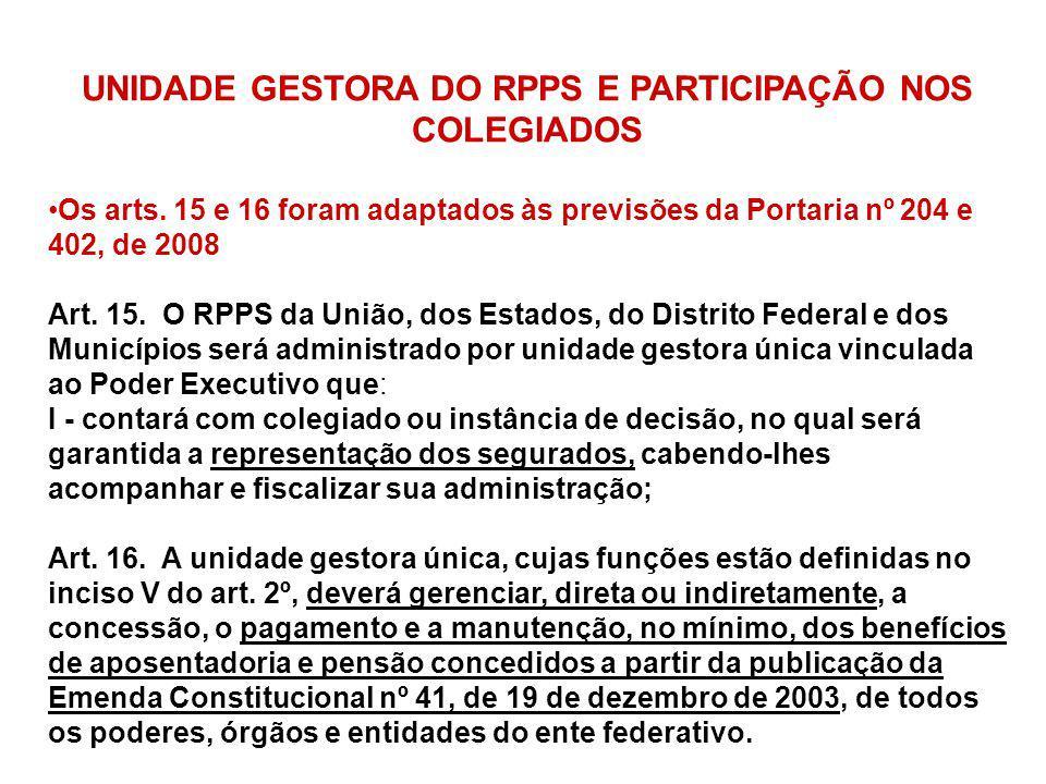 UNIDADE GESTORA DO RPPS E PARTICIPAÇÃO NOS COLEGIADOS Os arts. 15 e 16 foram adaptados às previsões da Portaria nº 204 e 402, de 2008 Art. 15. O RPPS