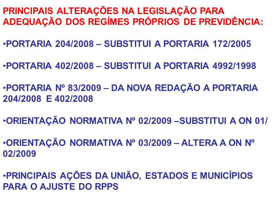 PRINCIPAIS ALTERAÇÕES NA LEGISLAÇÃO PARA ADEQUAÇÃO DOS REGÍMES PRÓPRIOS DE PREVIDÊNCIA: PORTARIA 204/2008 – SUBSTITUI A PORTARIA 172/2005 PORTARIA 402