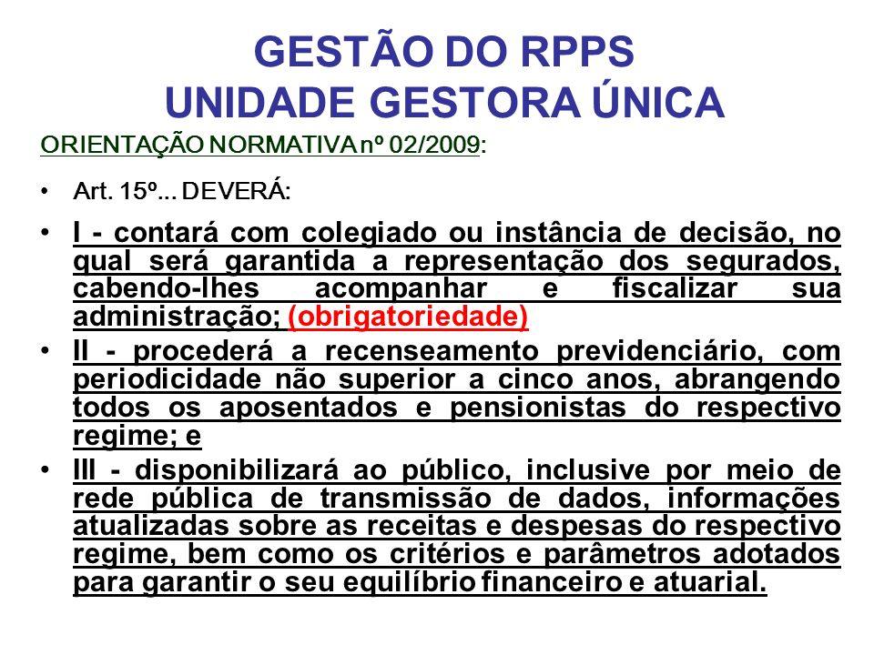 GESTÃO DO RPPS UNIDADE GESTORA ÚNICA ORIENTAÇÃO NORMATIVA nº 02/2009: Art. 15º... DEVERÁ: I - contará com colegiado ou instância de decisão, no qual s