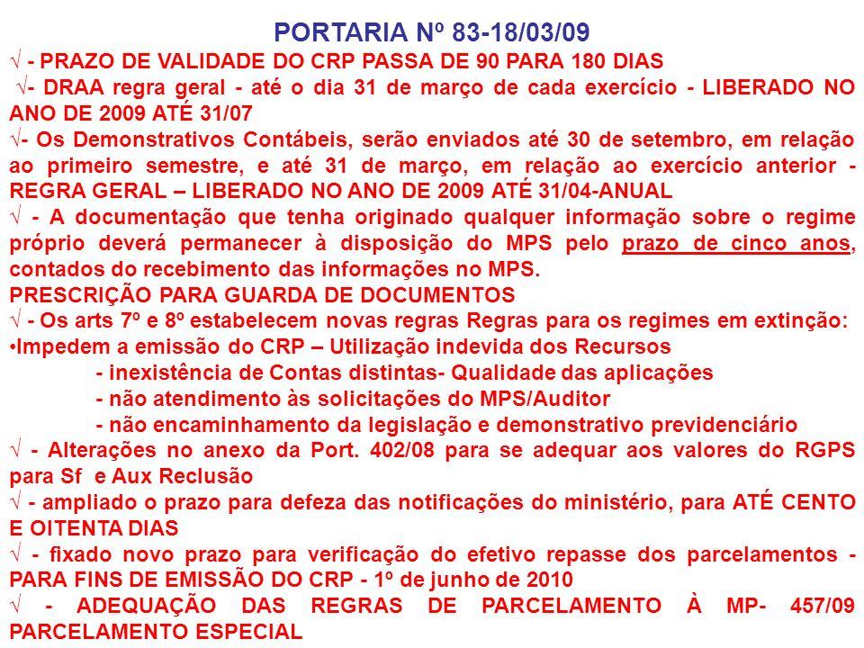 PORTARIA Nº 83-18/03/09 - PRAZO DE VALIDADE DO CRP PASSA DE 90 PARA 180 DIAS - DRAA regra geral - até o dia 31 de março de cada exercício - LIBERADO N
