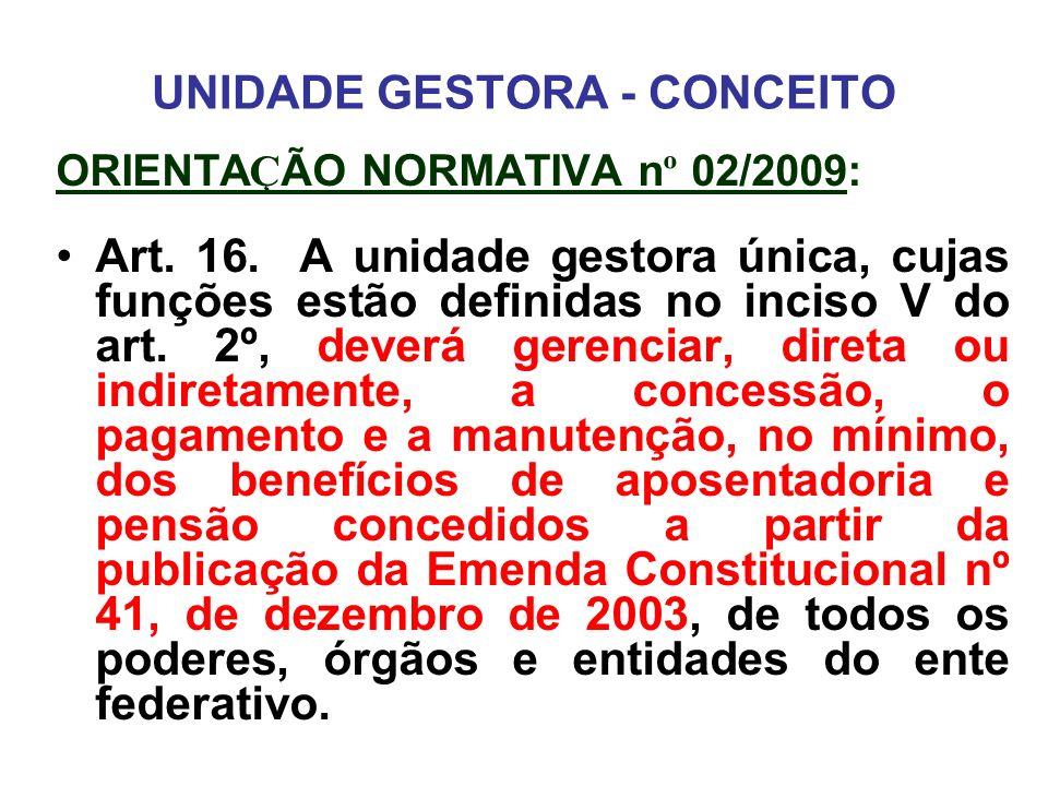 UNIDADE GESTORA - CONCEITO ORIENTA Ç ÃO NORMATIVA n º 02/2009: Art. 16. A unidade gestora única, cujas funções estão definidas no inciso V do art. 2º,