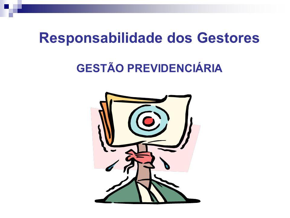 Responsabilidade dos Gestores GESTÃO PREVIDENCIÁRIA