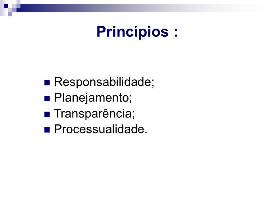 Princípios : Responsabilidade; Planejamento; Transparência; Processualidade.