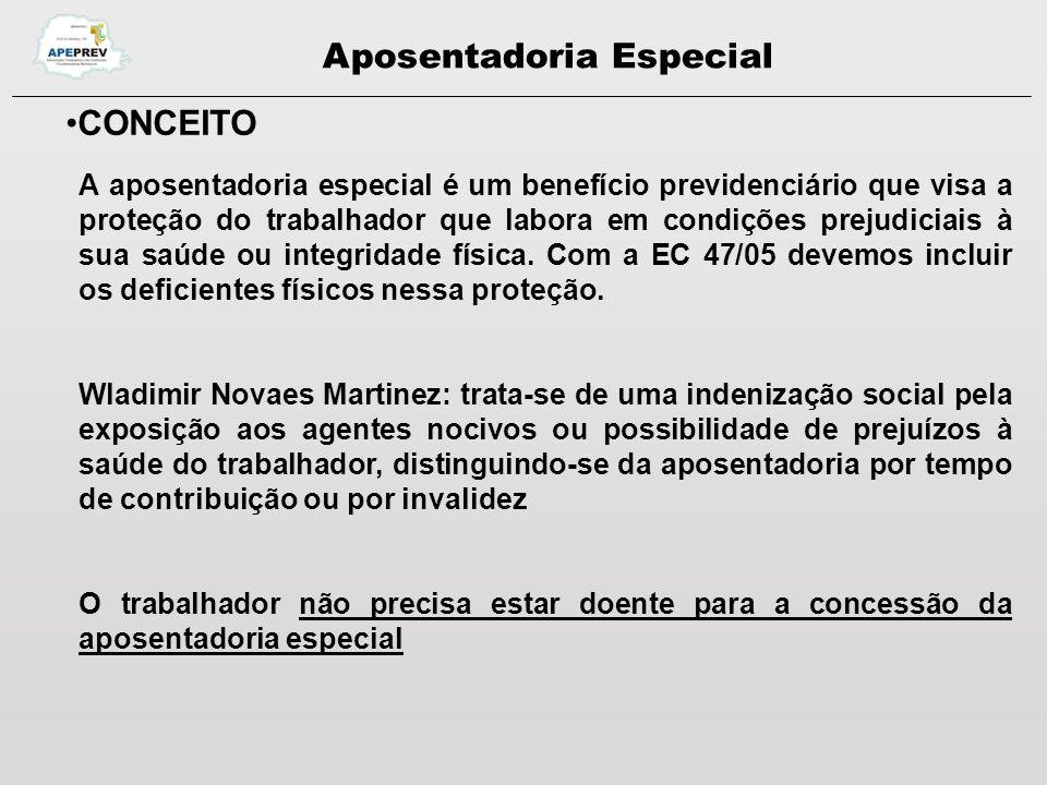 Aposentadoria Especial CONCEITO A aposentadoria especial é um benefício previdenciário que visa a proteção do trabalhador que labora em condições prejudiciais à sua saúde ou integridade física.