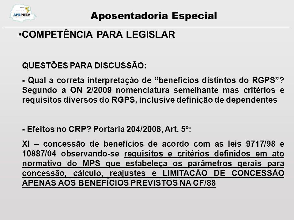 Aposentadoria Especial COMPETÊNCIA PARA LEGISLAR QUESTÕES PARA DISCUSSÃO: - Estados e Municípios podem fazer sua lei complementar.