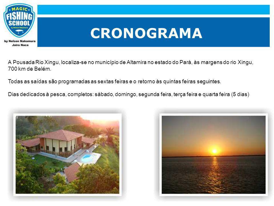 CRONOGRAMA A Pousada Rio Xingu, localiza-se no município de Altamira no estado do Pará, às margens do rio Xingu, 700 km de Belém. Todas as saídas são