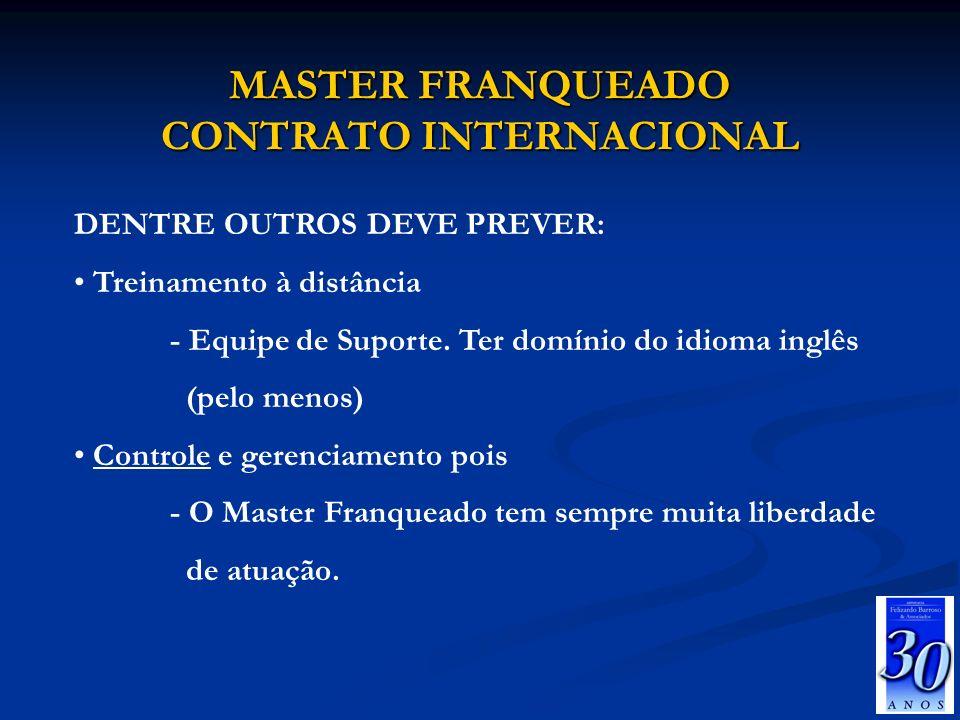 MASTER FRANQUEADO CONTRATO INTERNACIONAL DENTRE OUTROS DEVE PREVER: Treinamento à distância - Equipe de Suporte. Ter domínio do idioma inglês (pelo me
