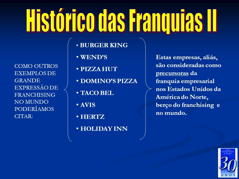 BURGER KING WENDS PIZZA HUT DOMINOS PIZZA TACO BEL AVIS HERTZ HOLIDAY INN COMO OUTROS EXEMPLOS DE GRANDE EXPRESSÃO DE FRANCHISING NO MUNDO PODERÍAMOS