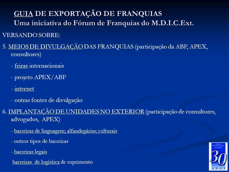 GUIA DE EXPORTAÇÃO DE FRANQUIAS Uma iniciativa do Fórum de Franquias do M.D.I.C.Ext. VERSANDO SOBRE: 5. MEIOS DE DIVULGAÇÃO DAS FRANQUIAS (participaçã